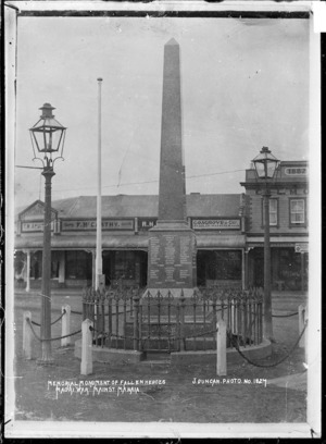 Memorial to the fallen in the New Zealand Wars, in Main Road, Manaia - Photograph taken by James Duncan