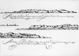 Gilsemans, Isaac :Thus appears the main land to south of the Rocky Point [Cape Foulwind] when you sail along the coast and views of the Rocky Point which appear thus as you can see below. [December 1642]