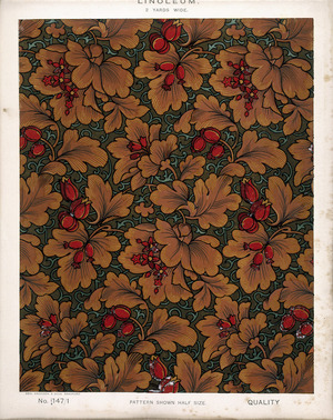 George Harrison & Co (Bradford) :Linoleum, 2 yards wide. [Victorian floral and leaf pattern, influenced by William Morris design]. No. 147/1. Pattern shown half size. [1880s?]
