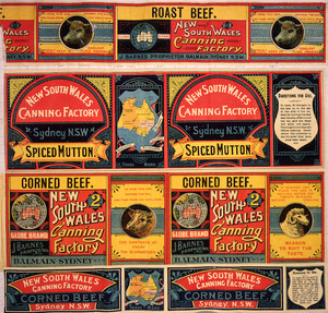 New South Wales Canning Factory :[Labels for Roast beef; Spiced mutton; and, Corned beef (two different). 1890-1920?]