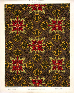 George Harrison & Co (Bradford) :Linoleum, 2 yards wide. [Victorian formal mosaic floral pattern]. No. 145/3. Pattern shown half size. [1880s?]