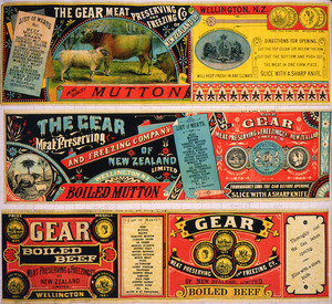 Gear Meat Company :[Three labels for Mutton; Boiled mutton; and, Boiled beef]. Gear Meat Preserving & Freezing Company of New Zealand, Wellington New Zealand. [1890-1920].