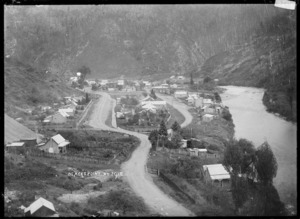 View of Blacks Point, a gold-mining settlement on the Inangahua River
