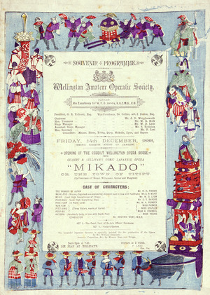 Wellington Amateur Operatic Society :Mikado, or the town of Titipu. Friday 14th December 1888 (being eighth night of season). Bock & Cousins, Printers, Brandon Street. [Blue version]