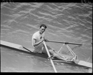 Winner of single scull, 1950 British Empire Games, Lake Karapiro