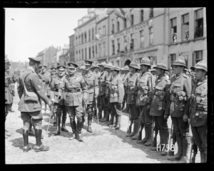 The Duke of Connaught inspects the Victors of Messines, greeting a New Zealand General, Market Square Bailleul