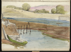 Hill, Mabel 1872-1956 :[Green boat and estuary] Suffolk [1954?]