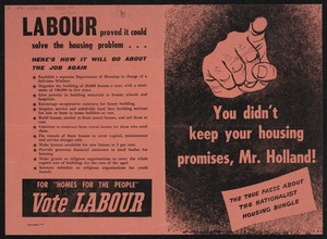 New Zealand Labour Party: You didn't keep your housing promises, Mr Holland! The true facts about the Nationalist housing bungle. [1951]