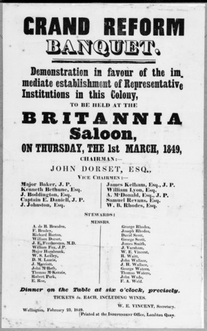 Grand reform banquet. Demonstration in favour of the immediate establishment of representative institutions in this colony, to be held at the Britannia Saloon, on Thursday, the 1st March, 1849.