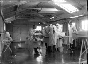 An operation being conducted in the theatre of the New Zealand Stationary Hospital, Wisques, France