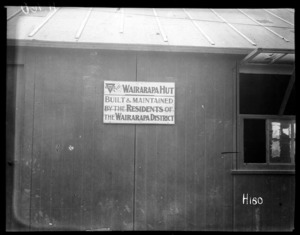 The wooden plaque on the World War I YMCA hut presented by Wairarapa New Zealand