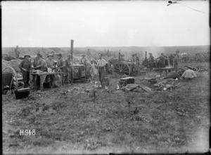A Wellington Regiment's field kitchen near the front line, World War I