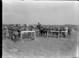The mounted officers' riding event at the New Zealand Divisional sports in France, World War I