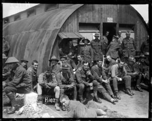 Men of a New Zealand Field Ambulance Brigade outside the mess room, World War I