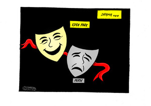 "Drama - the ""Eden Park"" comedy and ""Perth"" tragedy masks for the All Blacks loss and win in Bledisloe Cup matches with the Wallabies"