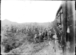 New Zealand troops prepare to entrain from Ypres
