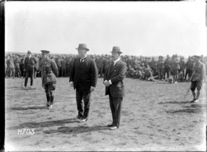 Prime Minister William Massey and Sir Joseph Ward visit New Zealand troops in the field, Bois-de-Warnimont, France