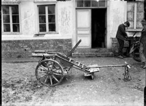 A captured German infantry field piece, Bus-les-Artois, France