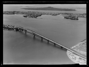 Westhaven Inlet, with boats and approach to Auckland Harbour Bridge