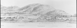 Nattrass, Luke, 1803?-1875 :City of Wellington, New Zealand. 1841. [W. Richardson lithographer from a sketch by L. Nattrass. 2nd edition]. Wellington, McKee & Gamble [ca 1890. Part three, right-hand side, first section]