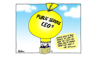 "Two men in the yellow ""Public Service CEOs"" hot air balloon float up to the ""limit on what CEO's can earn"" sky"