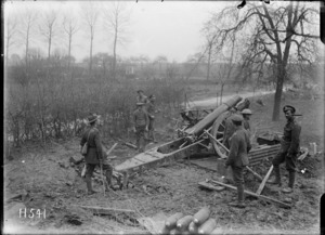 A howitzer in action at the front, Bus-les-Artois, France