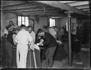 2nd Field Ambulance at work inside a makeshift hospital in France