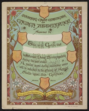 A H Reed: Southern Cross certificate of church attendance. A H Reed Ltd, Wellington [ca 1932]