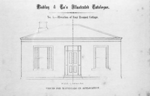 Findlay & Co. :Findlay and Co's illustrated catalogue. No. 5. Elevation of four roomed cottage. Scale 1/4 inch to a foot. Prices for material on application. [1874]