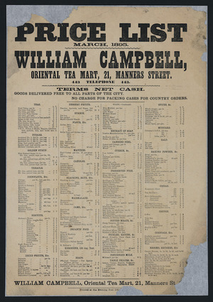 William Campbell, Oriental Tea Mart: Price list, March 1895