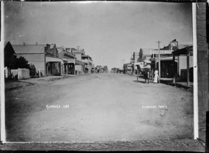 Looking down a main street, Kaponga, South Taranaki District - Photograph taken by David Duncan