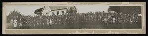 Brown, Benjamin Walter, fl 1935-2012 :Panoramic photograph of Pauatahanui School's 80 year jubilee, 1935