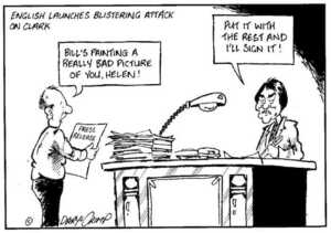 Crimp, Daryl, 1958- :English launches blistering attack on Clark. ca. 8 August 2002.
