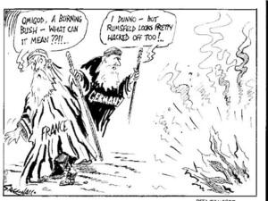 Greenall, Frank, 1948- :Omigod, a burning bush- what can it mean??!!.. Weekday News, [ca 12 February, 2003].