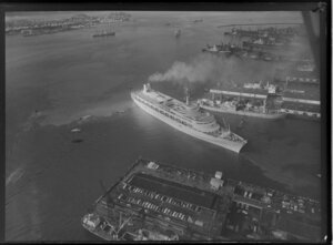The passenger ship Canberra on Waitemata Harbour, Auckland