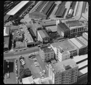 Industrial buildings, including Hutchinson's Wholesale and John Reid and Company Ltd, Auckland