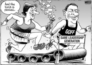 """And the torch is passed..."" 'Same leadership generation.' 'Goff.' 12 November, 2008."