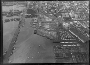 Auckland waterfront with Viaduct Harbour and Auckland Market of Turners and Growers