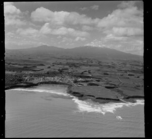 Opunake, surrounding farmland and Mount Taranaki, South Taranaki District