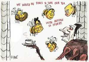 Slane, Christopher, 1957- :'We would be fools to take our tea with anyone so spidery.' Listener, 3 August 2002.