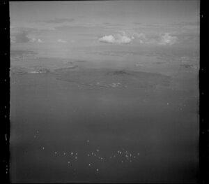 Rangitoto Island, with flotilla of yachts, Hauraki Gulf