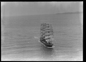 Barque, Pamir, arriving under full sail, Auckland