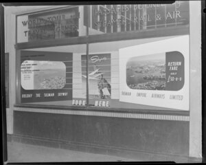 Haythornthwaite display window of Henderson and McFarlane travel agents advertising Tasman Empire Airways Limited