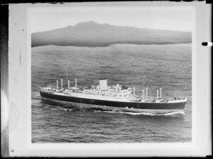 M V Rangitoto, with Rangitoto Island in the background, Hauraki Gulf, Auckland