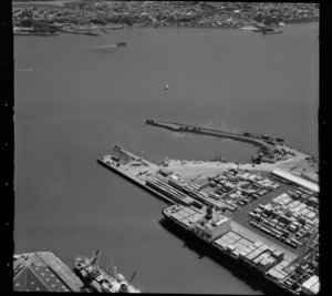 Ships and containers at Fergusson Wharf, Port of Auckland, Waitemata Harbour, including Devonport and Devonport Ferry