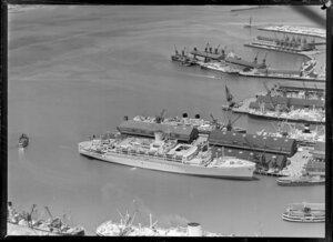 Waterfront scene, including cruise ship Orcades and other ships, Auckland