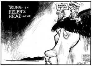 Evans, Malcolm 1945- :YOUNG-ish HELEN'S HEAD-ache. New Zealand Herald, 8 August 2002.