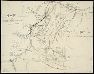 [Hill, Henry Thomas, 1849-1933] :Map of Kaingaroa tableland [ms map]. [H.H.].