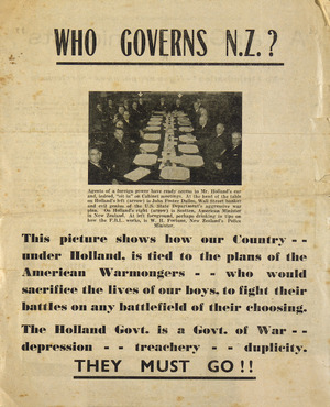 Who governs N.Z.? ... They must go!! [1951].