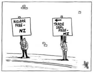 Hawkey, Allan Charles, 1941- :Nuclear free - NZ. Trade deal free - NZ. Waikato Times, 8 October 2002.